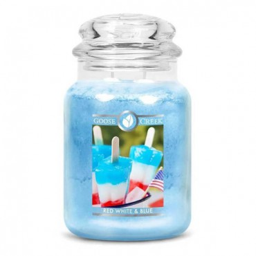 Duża świeca Red White & Blue Goose Creek Candle