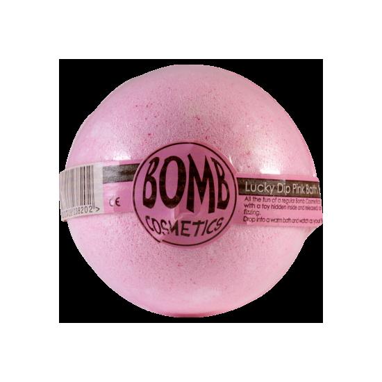 Musująca kula do kąpieli z niespodzianką SZCZĘŚLIWY TRAF malinowa – Bomb Cosmetics