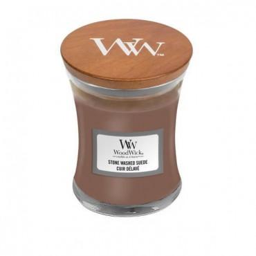 Mała świeca Stone Washed Suede Woodwick
