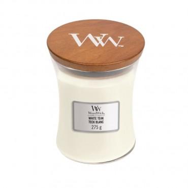 Średnia świeca White Teak Woodwick