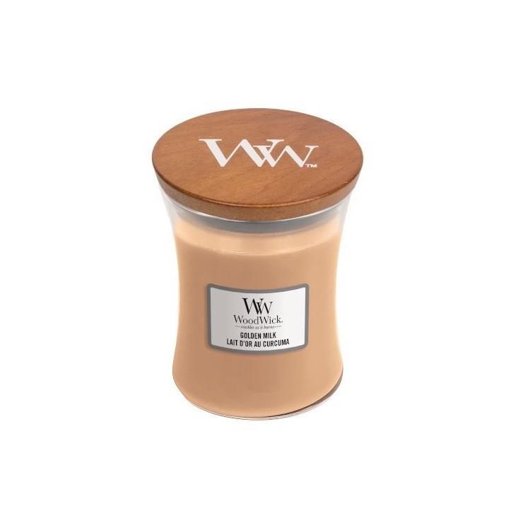 Średnia świeca Golden Milk Woodwick