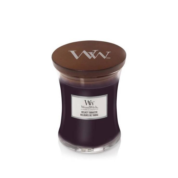 Średnia świeca Velvet Tobacco Woodwick