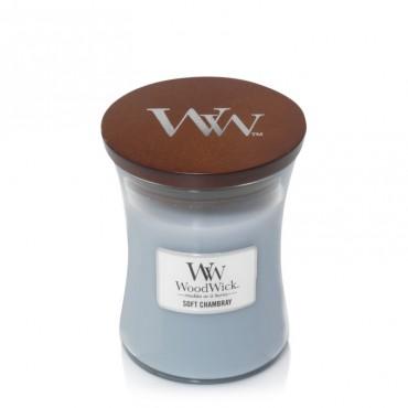 Średnia świeca Soft Chambray Woodwick