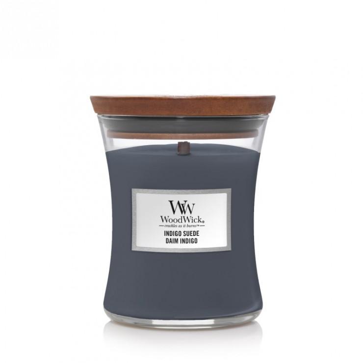 Średnia świeca Indigo Suede Woodwick