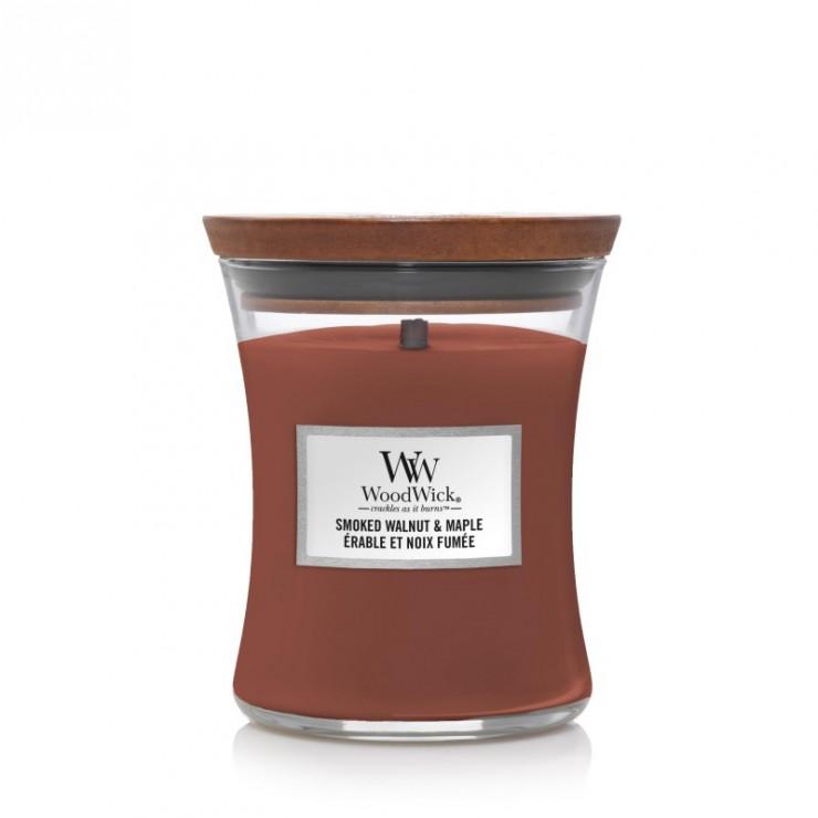 Średnia świeca Smoked Walnut & Maple Woodwick