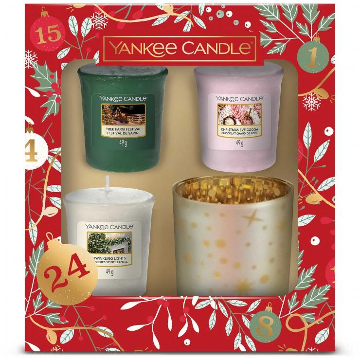 Countdown To Christmas - zestaw 3 świec typu votive ze świecznikiem Yankee Candle