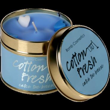 Świeca zapachowa w puszce ŚWIEŻOŚĆ BAWEŁNY – Bomb Cosmetics