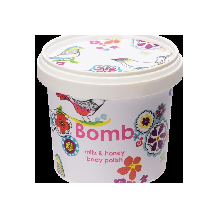 Peeling pod prysznic z masłem shea MLEKO z MIODEM Bomb Cosmetics