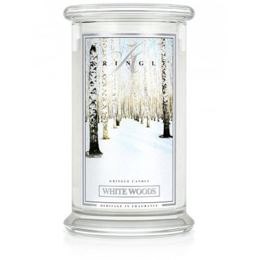 Duża świeca White Woods Kringle Candle