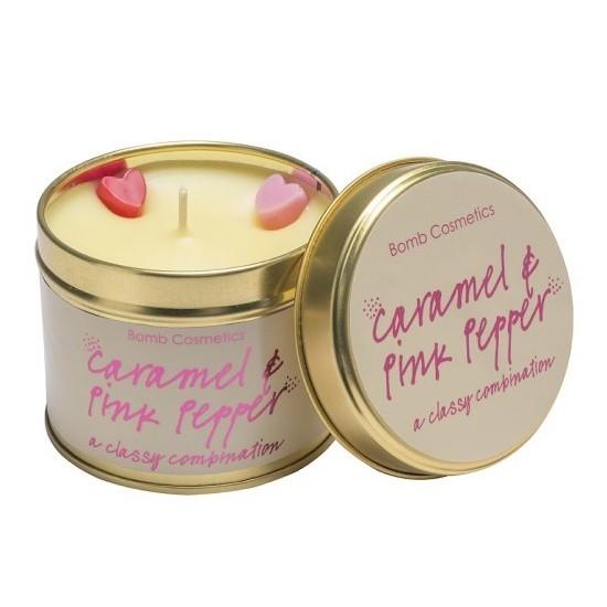 Świeca zapachowa w puszce KARMEL z RÓŻOWYM PIEPRZEM – Bomb Cosmetics