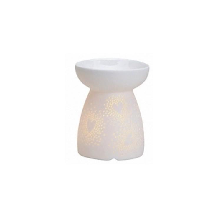 Kominek do wosków: Ażurowe serca (białe)