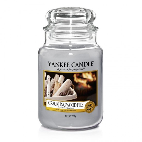 Duża świeca Crackling Wood Fire Yankee Candle
