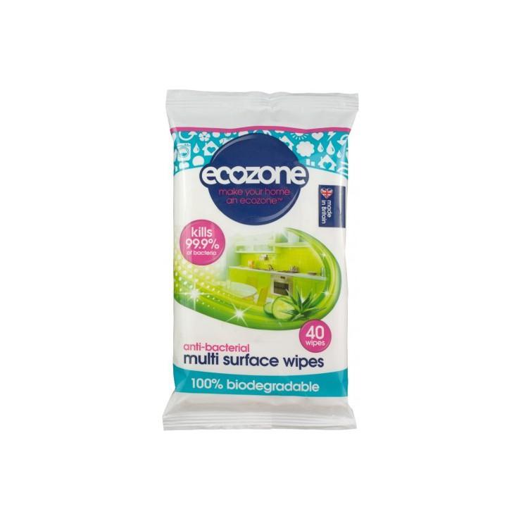 Ecozone Antybakteryjne chusteczki do mycia powierzchni, 40 szt.