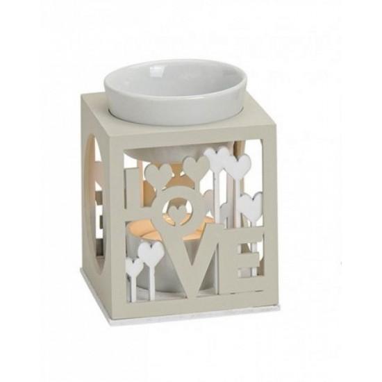 Kominek do wosków Drewniany z miseczką (Love)