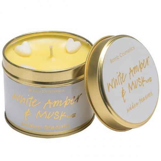 Świeca zapachowa w puszce BIAŁA AMBRA i PIŻMO Bomb Cosmetics