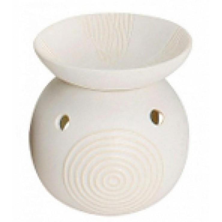 Kominek do wosków Apollo ze zdobioną miseczką biały