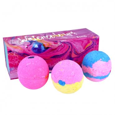 Zestaw 3 kul Watercolours w ozdobnym pudełku AKWARELE Bomb Cosmetics