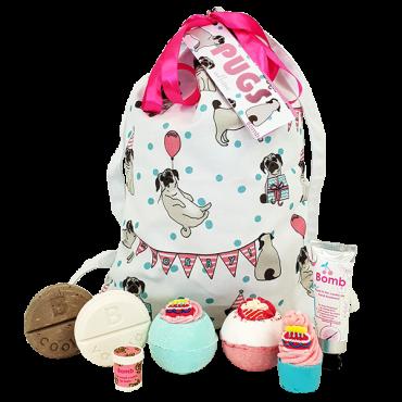 Zestaw kosmetyków w bawełnianej torbie PUGS & KISSES Bomb Cosmetics