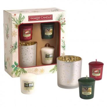 Magical Christmas Morning - zestaw 3 świec typu votive ze świecznikiem Yankee Candle